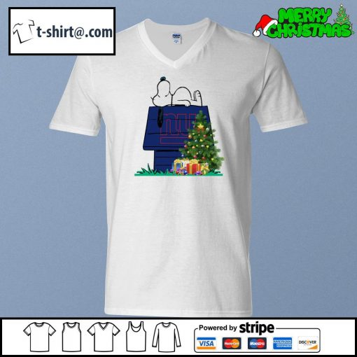 New York Giants Snoopy NFL Ornament, t-shirt and hoodie v-neck-t-shirt