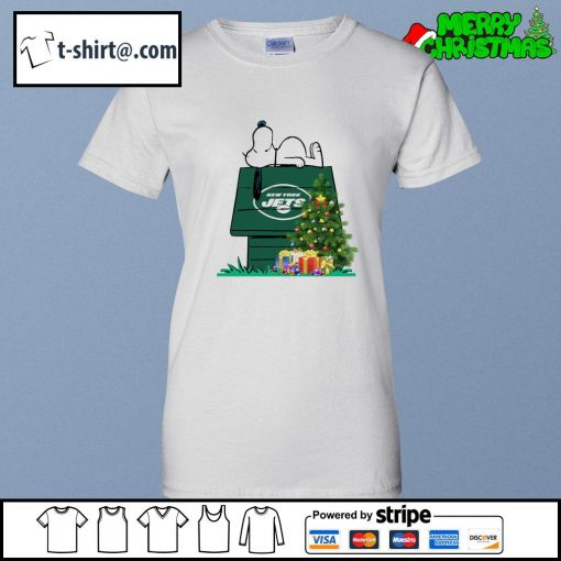 New York Jets Snoopy NFL Ornament, t-shirt and hoodie ladies-tee
