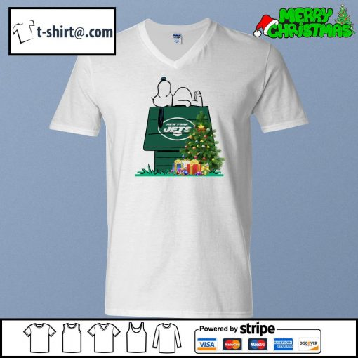 New York Jets Snoopy NFL Ornament, t-shirt and hoodie v-neck-t-shirt