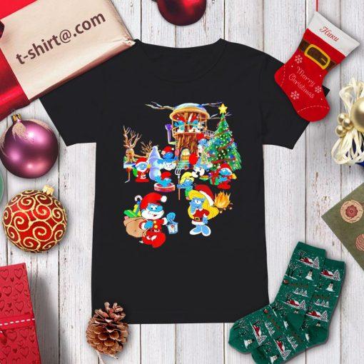 Santa The Smurfs snowman Merry Christmas tree shirt, sweater ladies-tee