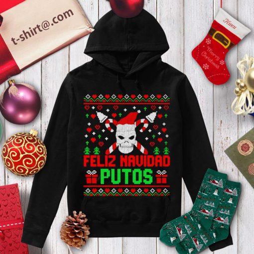 Skull Feliz Navidad Putos ugly Christmas shirt, sweater hoodie