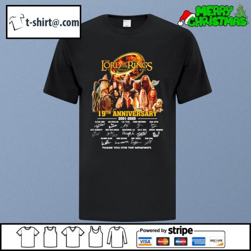 The Lord of the Rings 19th anniversary 2001-2020 thank you for the memories shirt