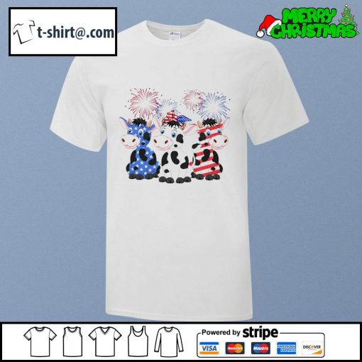4th of July American flag cows shirt