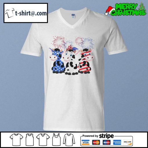 4th of July American flag cows s v-neck-t-shirt