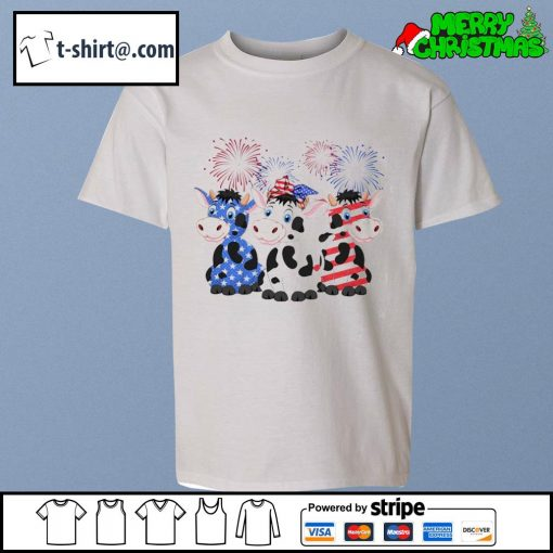 4th of July American flag cows s youth-tee