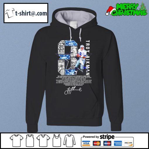 8 Troy Aikman quarterback Dallas Cowboys 1989-2000 thanks for the memories signature s hoodie