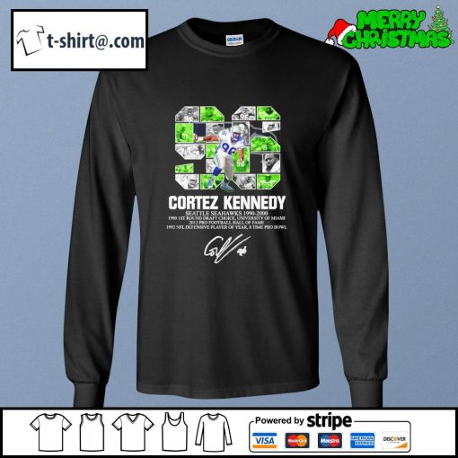 96 Cortez Kennedy Seattle Seahawks 1990-2000 signature s longsleeve-tee