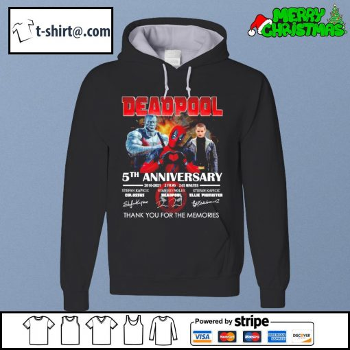 Deadpool 5th anniversary 2016-2021 2 films 243 minutes thank you for the memories s hoodie