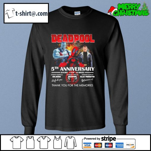 Deadpool 5th anniversary 2016-2021 2 films 243 minutes thank you for the memories s longsleeve-tee