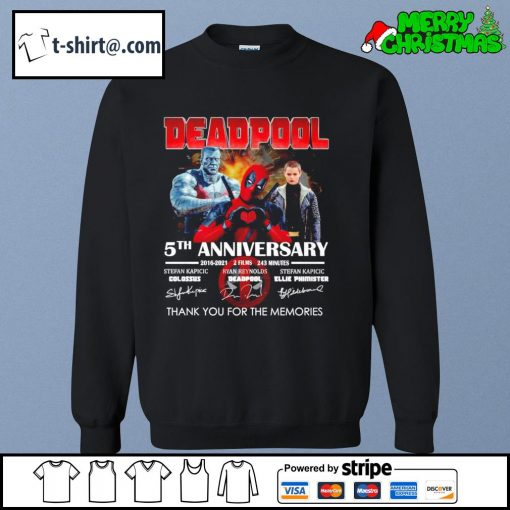 Deadpool 5th anniversary 2016-2021 2 films 243 minutes thank you for the memories s sweater