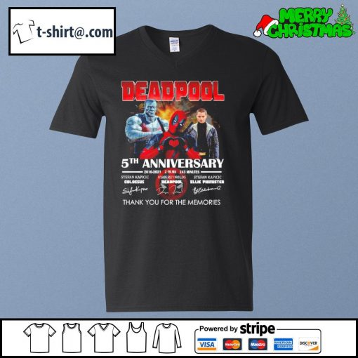 Deadpool 5th anniversary 2016-2021 2 films 243 minutes thank you for the memories s v-neck-t-shirt