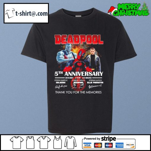 Deadpool 5th anniversary 2016-2021 2 films 243 minutes thank you for the memories s youth-tee