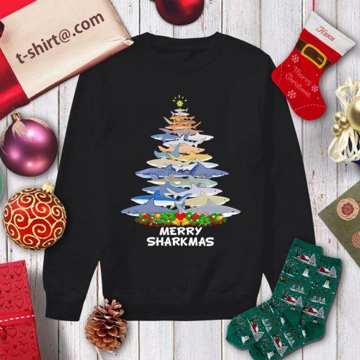 Merry Sharkmas Christmas tree shirt, sweater sweater