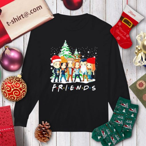 Supernatural characters chibi Friends TV show Christmas shirt, sweater longsleeve-tee