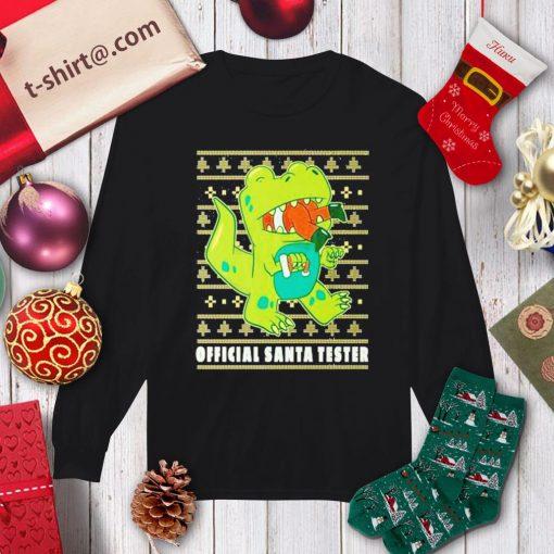 T-rex eating Santa Claus official Santa tester ugly Christmas shirt, sweater longsleeve-tee