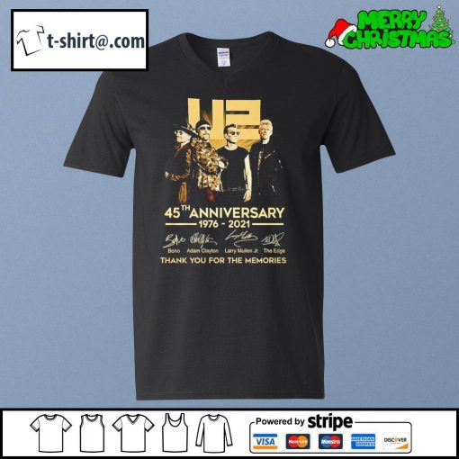 U2 45th anniversary 1976-2021 thank you for the memories s v-neck-t-shirt