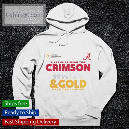 Alabama Crimson Tide White and Gold 18x National Champions College Football Playoff 2020 s hoodie