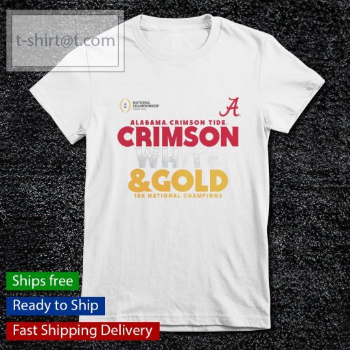Alabama Crimson Tide White and Gold 18x National Champions College Football Playoff 2020 s ladies-tee
