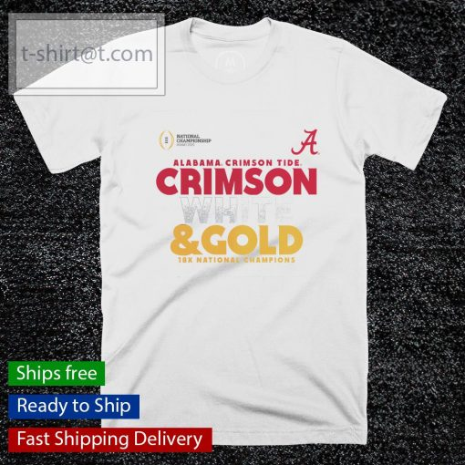 Alabama Crimson Tide White and Gold 18x National Champions College Football Playoff 2020 shirt