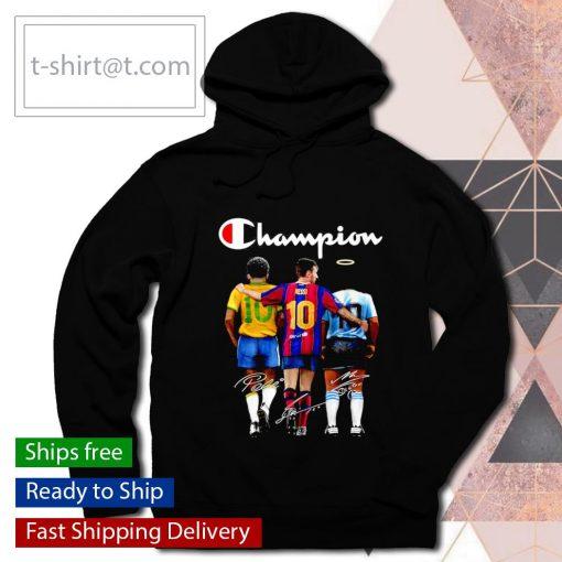 Champion Pele Messi Diego Maradona signatures s hoodie