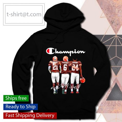 Cleveland Browns Denzel Ward Baker Mayfield Nick Chubb signatures s hoodie