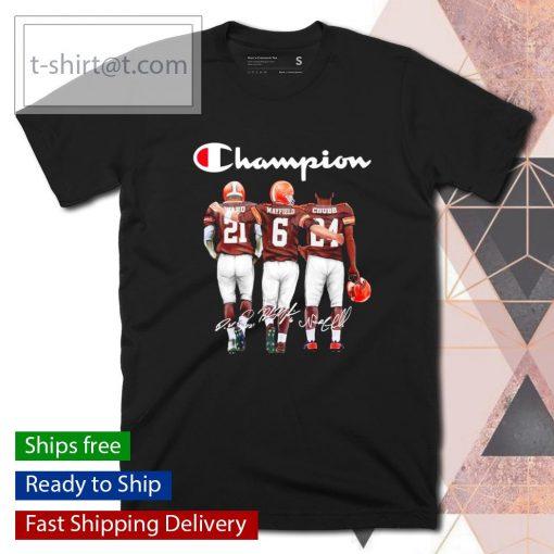 Cleveland Browns Denzel Ward Baker Mayfield Nick Chubb signatures shirt