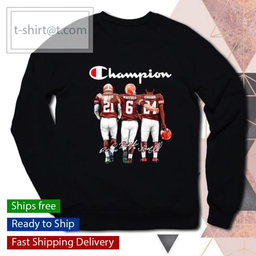 Cleveland Browns Denzel Ward Baker Mayfield Nick Chubb signatures s sweater