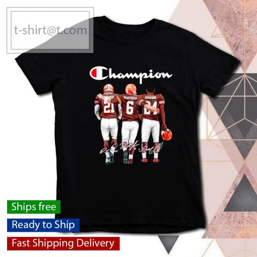 Cleveland Browns Denzel Ward Baker Mayfield Nick Chubb signatures s youth-tee