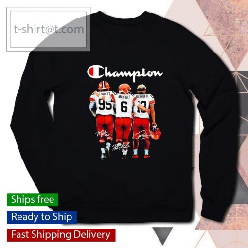 Cleveland Browns Myles Garrett Baker Mayfield Odell Beckham Jr. signatures s sweater