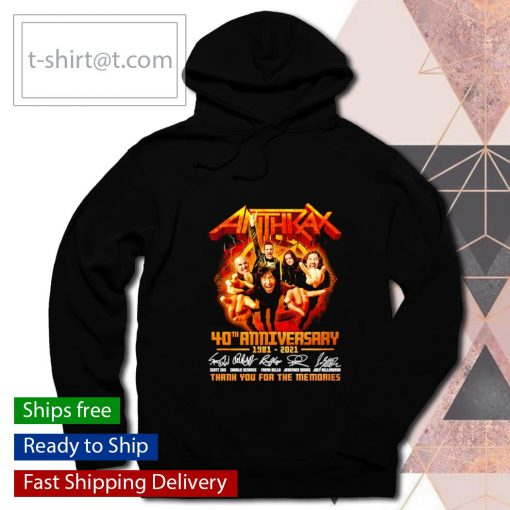 Anthrax 40th anniversary 1981 2021 thank you for the memories s hoodie