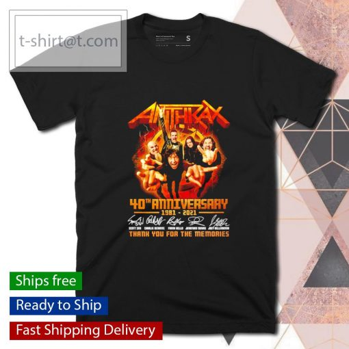 Anthrax 40th anniversary 1981 2021 thank you for the memories shirt