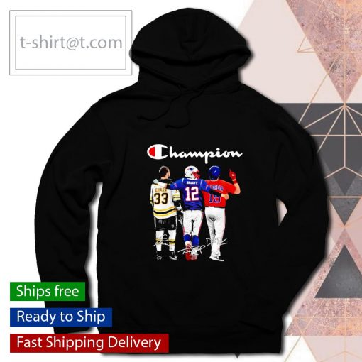 Champion Zdeno Chara Tom Brady Dustin Pedroia signatures s hoodie