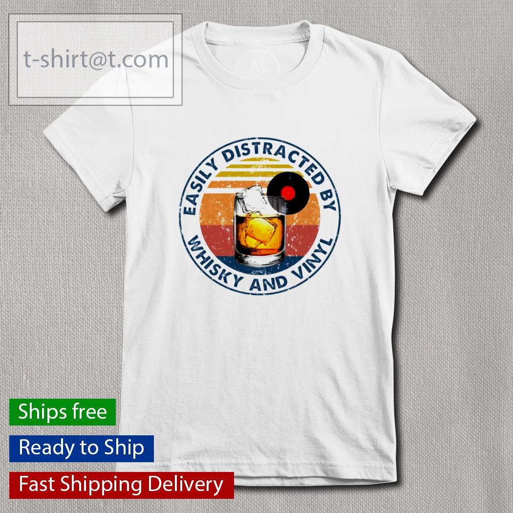 Easily distracted by whisky and vinyl t-s Ladies-tee