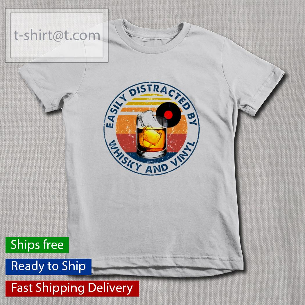 Easily distracted by whisky and vinyl t-s youth-tee
