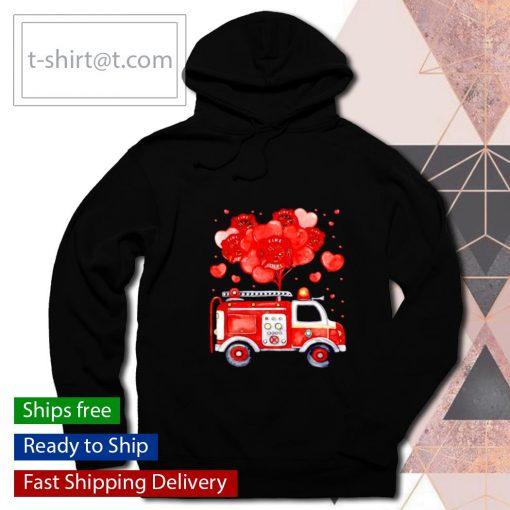 Loads Of Love Firetruck Valentine Day s hoodie