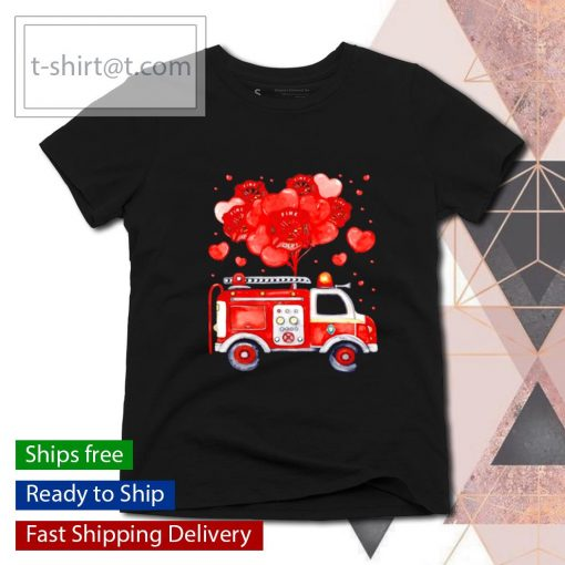 Loads Of Love Firetruck Valentine Day s ladies-tee