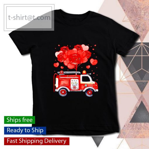 Loads Of Love Firetruck Valentine Day s youth-tee