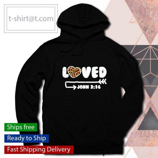 Loved John 316 Leopard Heart Valentines Day s hoodie