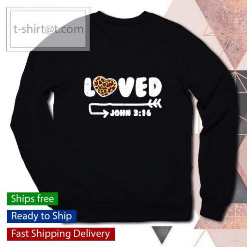 Loved John 316 Leopard Heart Valentines Day s sweater