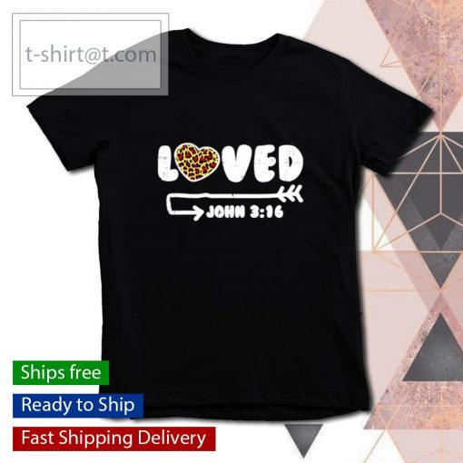 Loved John 316 Leopard Heart Valentines Day s youth-tee