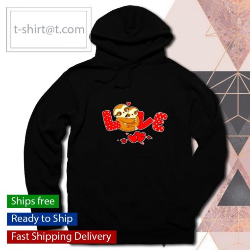 Sloth Love Holding Heart Valentines Day s hoodie