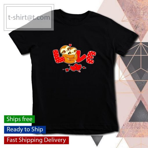 Sloth Love Holding Heart Valentines Day s youth-tee