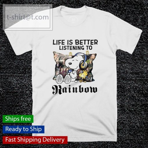 Snoopy Life is better listening to Rainbow shirt
