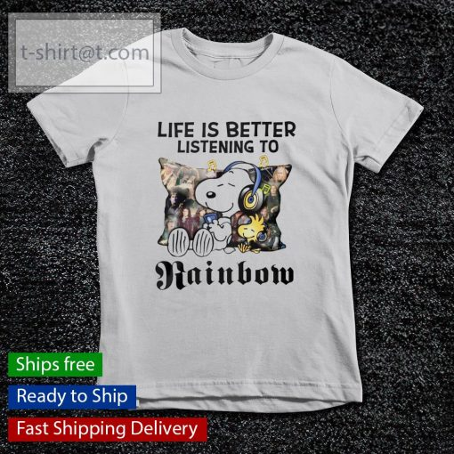 Snoopy Life is better listening to Rainbow s youth-tee