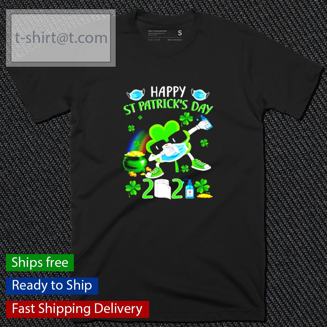 St Patrick's Day Dabbing Shamrock in a mask shirt